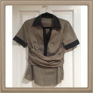 BCBGMAXAZRIA short sleeve shirt tie in the back